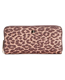 Metallic Leopard Slim Continental Wallet