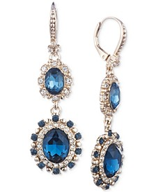 Gold-Tone Pavé & Stone Double Drop Earrings