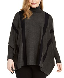 Plus Size Striped Poncho Sweater, Created for Macy's