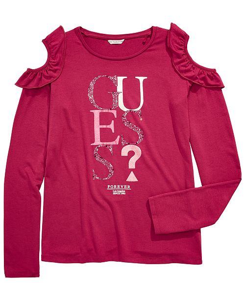 GUESS Big Girls Ruffle Cold Shoulder T-Shirt