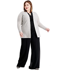Plus Size Cashmere Sequin-Trim Completer Sweater,  Created For Macy's