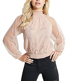 Luissa Sheer Mock Neck Top