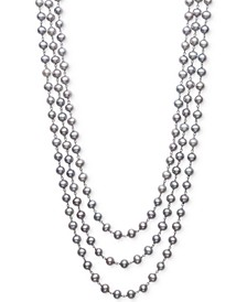 "Gray Cultured Freshwater Pearl (6mm) Triple Strand 18"" Statement Necklace in Sterling Silver"