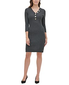 Henley Button Ribbed Sweater Dress