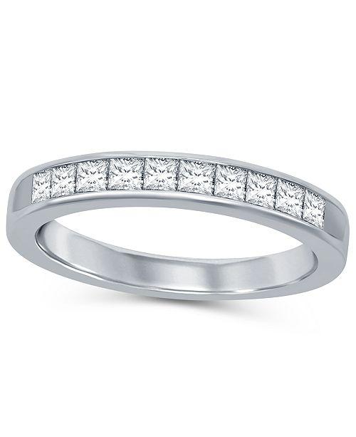 Macy's Princess Cut Diamond (1/2 ct. t.w.) Channel Band in 14K White Gold