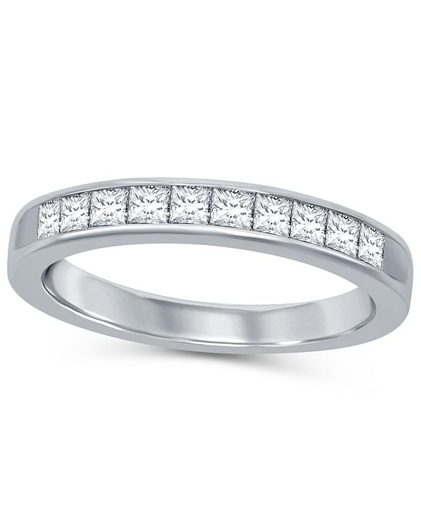 Macy's Princess Cut Diamond (1/2 ct. t.w.) Channel Band in 14K White Gold