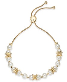 Gold-Tone Imitation Pearl Bolo Bracelet, Created For Macy's