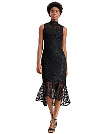 Sequin Lace High-Low Sheath Dress