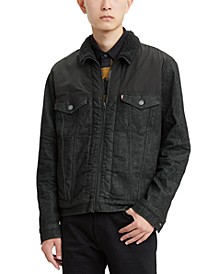 Men's Limited Collection Faux Sherpa Lined Trucker Jacket, Created For Macy's