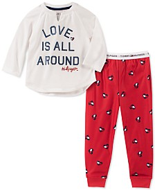 Tommy Hilfiger Toddler, Little & Big Girls 2-Pc. Love Is All Around Pajama Set