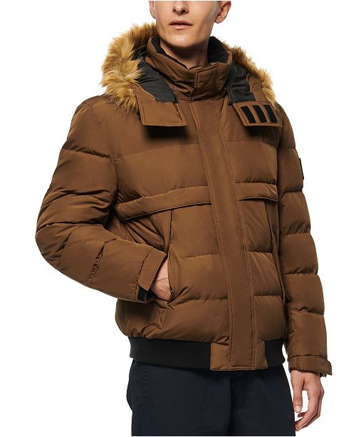 Marc New York Men's Bart Down-Filled Bomber with Faux Fur Trimmed Removable Hood