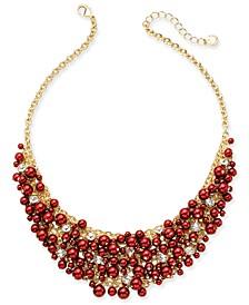 """16"""" Glass Pearl Cluster Bib Necklace"""