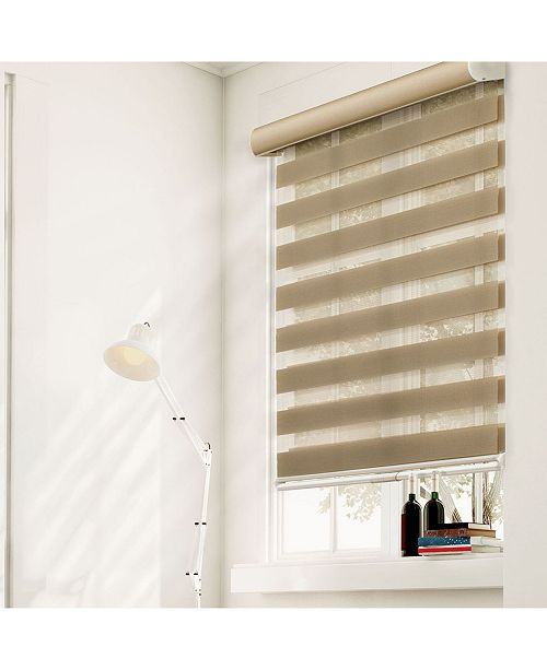 "Chicology Cordless Zebra Shades, Dual Layer Combi Window Blind, 46"" W x 72"" H"