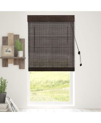 """Bamboo Roman Shades, Natural Woven Wood Privacy Window Blind, 34"""" W x 64"""" H"""
