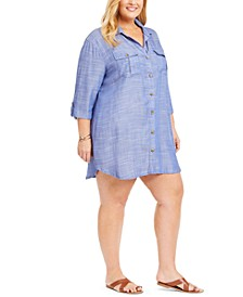 Plus Size Travel Muse Shirt Cover-Up Dress