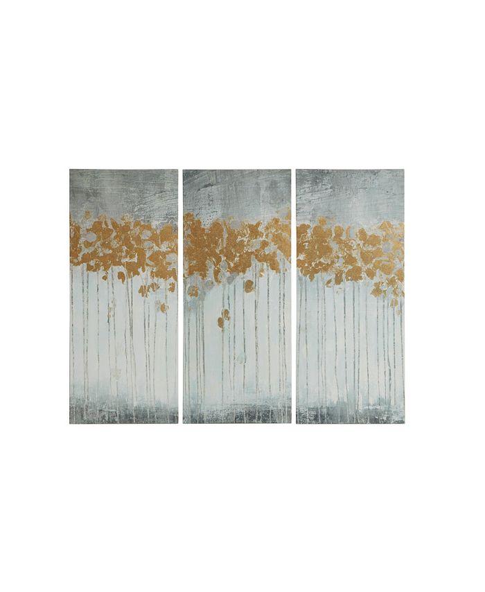 JLA Home - Evening Forest Gray 3-Pc. Gel/Foil-Embellished Canvas Print Set