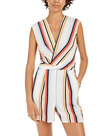 Juniors' Surplice Striped Romper