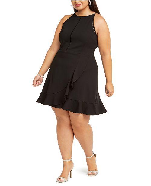 Trendy Plus Size Juniors\' Ladder-Trim Halter Dress