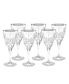Lorren Home Trends Red Wine Goblets with 24K Trim - Set of 6