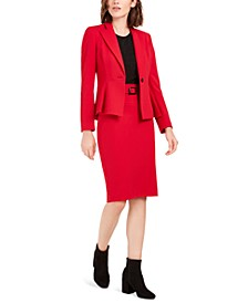 Crepe Peplum Jacket, Textured Sparkle Top & Belted Pencil Skirt, Created For Macy's