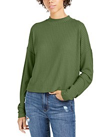 Juniors' Mock Neck Rib-Knit Top