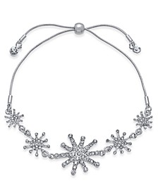 INC Silver-Tone Crystal Snowflake Slider Bracelet, Created For Macy's