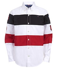 Big Boys Philip Colorblocked Stripe Patch Poplin Shirt