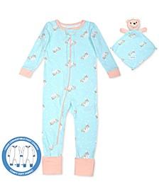 Baby Girls 2-Pc. Unicorn-Print Pajama & Bear Blankie Buddy Set, Created For Macy's
