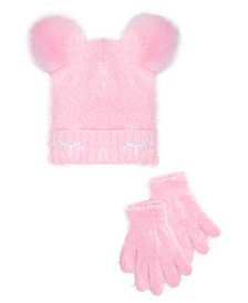 Big Girls 2-Pc. Faux-Fur-Poms Hat & Gloves Set