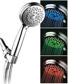 7-setting LED Hand Shower with Color-Changing Temperature Sensor
