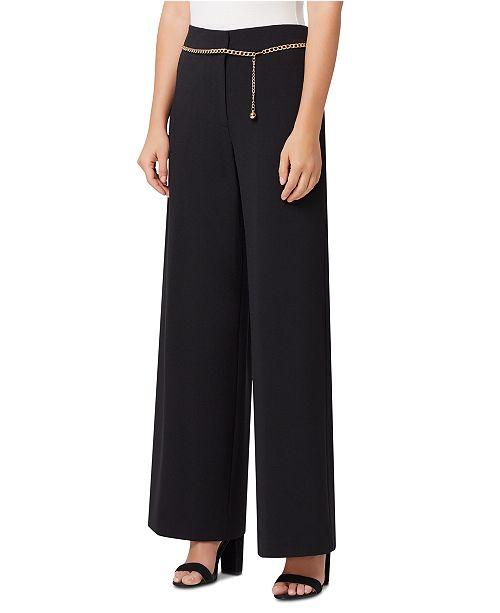 Tahari ASL Petite Wide-Leg Chain-Belt Dress Pants