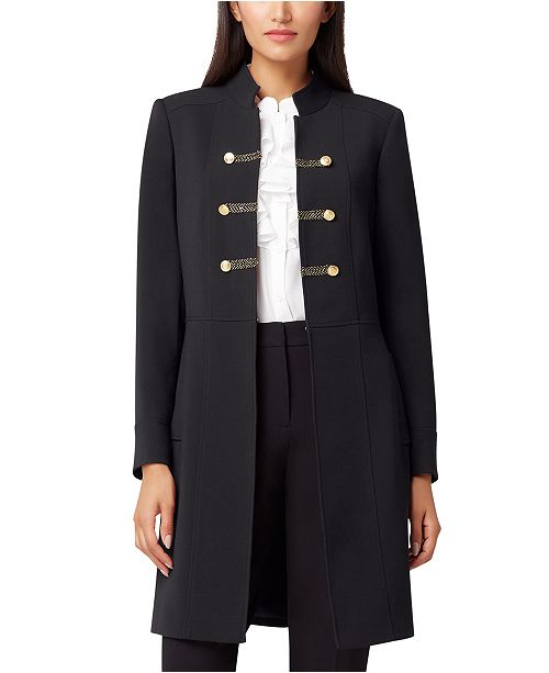 Tahari ASL Petite Braided-Trim Double-Breasted Topper Jacket