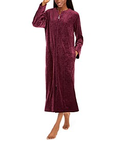 Women's Brocade Micro Fleece Long Zipper Robe