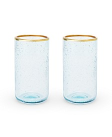 Seaside Deep Bubble Glass Tumbler Set of 2