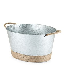 Seaside Jute Rope Wrapped Galvanized Tub