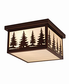 Yosemite Outdoor Flush-Mount Light with Rustic Tree Motif