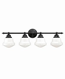 Huntley 4 Light Farmhouse Bathroom Vanity Wall Light Schoolhouse Glass