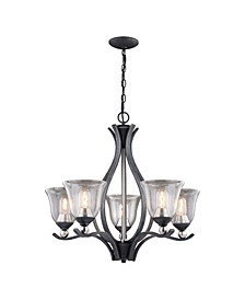 Seville Nickel with Clear Seeded Glass 5 Light Chandelier