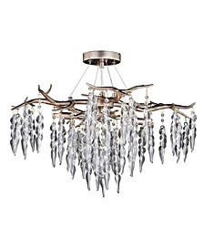 Rainier Silver-Tone Mist Rustic Crystal Waterfall Ceiling Light