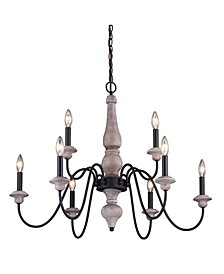 Georgetown Wood and Farmhouse 9 Light Chandelier