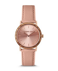 Women's Rose Gold Paired with Plush Genuine Leather Band Watch 34mm