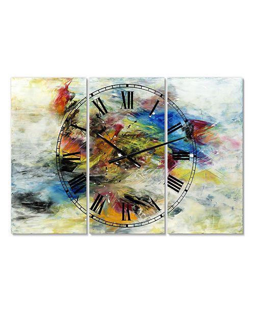"Designart Follow Your Dreams Large Modern 3 Panels Wall Clock - 23"" x 23"" x 1"""