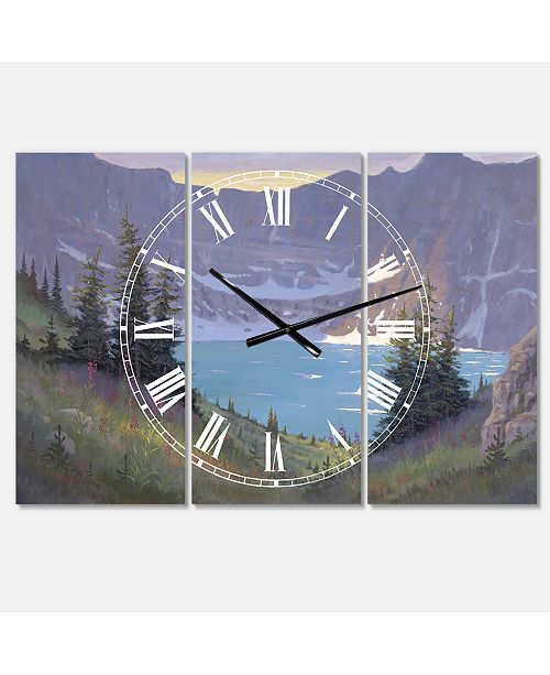 "Designart Iceberg Lake Large Traditional 3 Panels Wall Clock - 23"" x 23"" x 1"""
