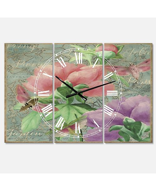 "Designart Pink Peonies Large Cottage 3 Panels Wall Clock - 23"" x 23"" x 1"""