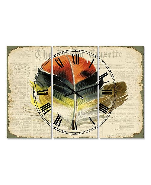 "Designart Colorful Elegant Feather On Old Style Newspaper III Oversized Cottage 3 Panels Wall Clock - 38"" x 38"" x 1"""