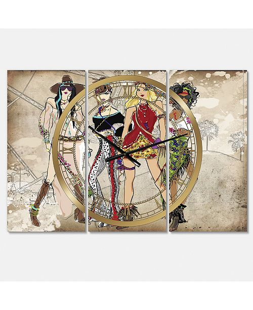 "Designart Squad Goals Oversized Fashion 3 Panels Wall Clock - 38"" x 38"" x 1"""