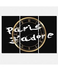 "Paris Jadore Oversized Fashion 3 Panels Wall Clock - 38"" x 38"" x 1"""