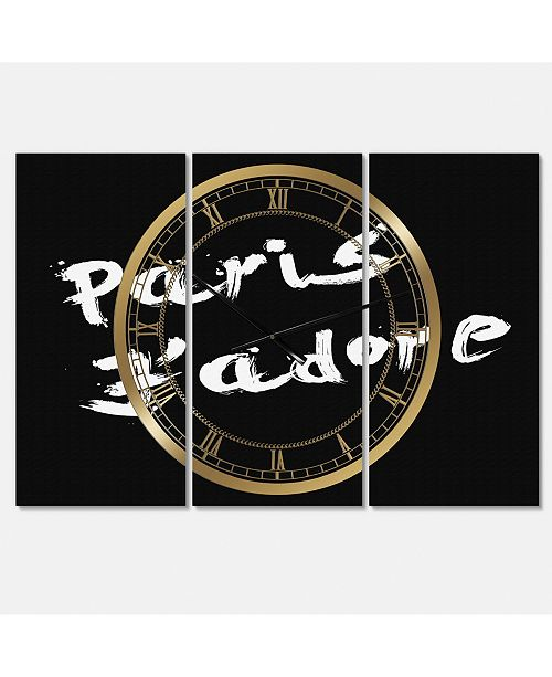 "Designart Paris Jadore Oversized Fashion 3 Panels Wall Clock - 38"" x 38"" x 1"""