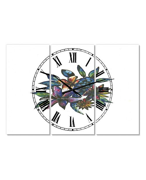 "Designart Tropical Flowers Large Cottage 3 Panels Wall Clock - 23"" x 23"" x 1"""