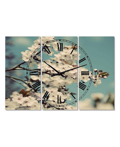 "Designart White Spring Blossom Oversized Cottage 3 Panels Wall Clock - 38"" x 38"" x 1"""